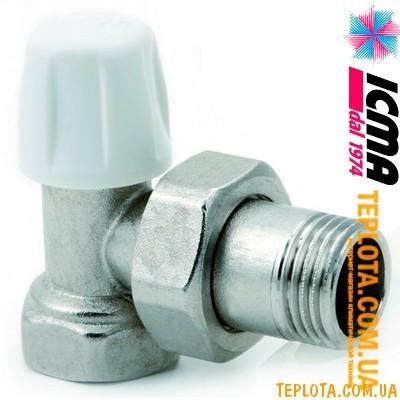ICMA арт. 805 - Кран (вентиль) радиаторный нижний, регулировка *под отвертку*, угловой, 3)4*