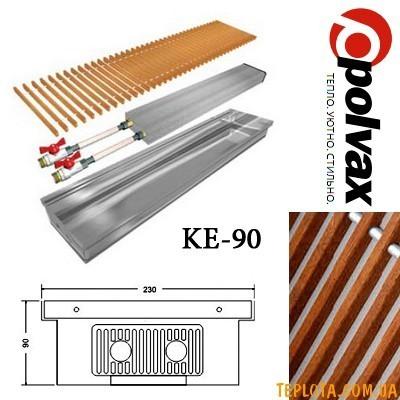 Внутрипольный конвектор POLVAX KE-90 (длина 1250мм, один теплообменник, дубовая решетка)