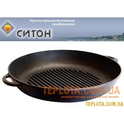 Чугунная сковорода - ГРИЛЬ с рифленой поверхностью (260х40 мм, СИТОН - Украина)
