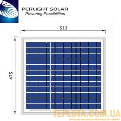 Солнечная батарея Perlight Solar 30 Вт 12 В, поликристаллическая (Grade A PLM-030P-36)
