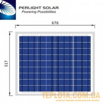 Солнечная батарея Perlight Solar 50 Вт 12 В, поликристаллическая (Grade A PLM-050P-36)