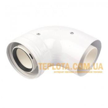 Коаксиальный универсальный угол 90гр. ф60-100мм для подключения дымохода