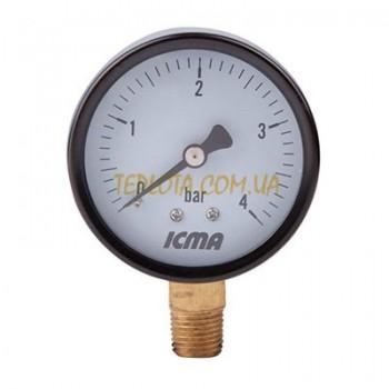 Манометр ICMA 10 bar диаметр 63 мм подключение радиальное 1)4 дюйма