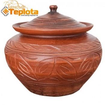 Глиняный горшочек (глечик) из обожженной керамики, 5 литров