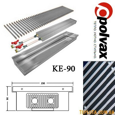 Внутрипольный конвектор POLVAX KE-90 (длина 1000мм, один теплообменник, дюралюминиевая решетка)