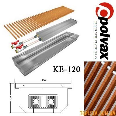 Внутрипольный конвектор POLVAX KE-120 (длина 1000мм, один теплообменник, дубовая решетка)