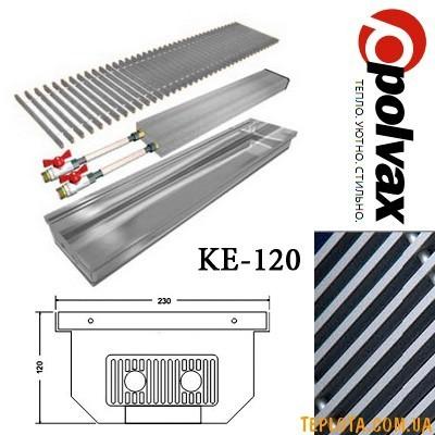 Внутрипольный конвектор POLVAX KE-120 (длина 1000мм, один теплообменник, дюралюминиевая решетка)