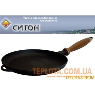 Чугунная сковорода - блинница с деревянной ручкой (220х20 мм, СИТОН - Украина)